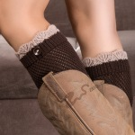 Boots Knitting Wool Leg Cover Short Paragraph Spell Color Hit ColorLace Socks Pick-hole Buttons - Beige / Dark Coffee