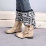 Wool Knitting Leg Covering Sheath Jacquard Warm Warm Socks L-fringed Bohemia Socks - Dark Coffee / Beige