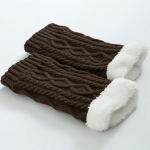 Knitted Leg Warmers Thickening Knee Boots Warm Wool Cashmere Socks Diamond Twist Socks - Burgundy