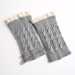 Lace Knitting Wool Socks Leggings Warm Autumn Winter Boots Lace Short Paragraph 8 Word Cannabis - Light Gray