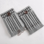 Knitting Wool Leggings Feet Warm Autumn Winter Boots Of Ears Corn Dotted Line Button Short Paragraph Socks Origin - Cream-colored