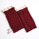 Knitting Wool Gloves For Warm Autumn Winter Boots Short Paragraph Lace Paired With 8 Characters Socks - White