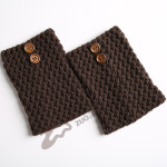 Knitting Wool Gloves For Warmth Yoga Leggings Short Paragraph Hollow Twill Button Widened Boots Socks - Black
