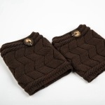 Wool Knitted Leg Warmers Leg Covering Sheath Leggings Double Thick Socks W-shaped Button - Grey