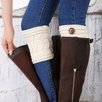 Wool Knitted Leg Warmers Leg Covering Sheath Leggings Double Thick Socks W-shaped Button - Cream-colored