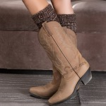 Boots Knitted Socks Deduction Yoga Legs Warm Short Paragraph Introversion Blending Sprout Buttons - Dark Coffee / Beige