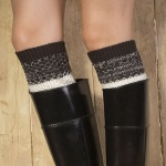 Hit Color Wool Knitted Boot Covers Leg Cover Boot Cuff Warm Spell Color Mixing Tuck Socks - Black White