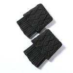 Women's Socks Warm Boots Warm Wool Leggings Gloves For Autumn Winter Knit Socks Quilted - Black