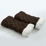 Winter Knitting Booties Old Cold Legs Knee Thick Warm Wool Leg Warmers Boots Plus Velvet Diamond Mesh Socks - Kazimierz
