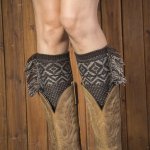 19CM Bohemian Tassel Boot Sock Knitted Warm Wool Leg Sleeve Wholesale - Joe Green + Light Gray
