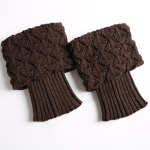 Knitting Wool Socks Turned Mouth Warm Gloves For Sailing Scallops Leggings Set - Light Gray