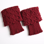 Knitting Wool Socks Turned Mouth Warm Gloves For Sailing Scallops Leggings Set - Cream-colored