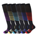 Non Slip Stripes Compression Socks Graduated Compression Stockings Pressure Sports Socks - Blue EU 35-40