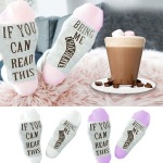 IF You Can Read This Bring Me Chocolate Socks Letters Foot Socks Crew Cotton Socks AB Mismatched Socks - Pink EU 35-44