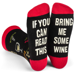 IF YOU Can Read This Valentine Day Gift Christmas Socks AB Letters Socks Mismatched Words Socks - Bring Me Some Wine EU 35-45
