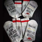 If You Can Read This Christmas Socks Casual Socks Crew AB Sock Mismatched Socks Novelty Socks - White