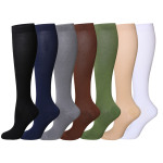 Quick Dry Breathable Sports Socks Solid Color Walking Socks Leisure Knee High Compression Stocking for Flight Travel Flying 15-25 mmHg - Sapphire EU 40-45