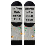 IF YOU CAN READ THIS Leisure Letters Printed Crew Socks Gift Novelty Socks - Gray One Size