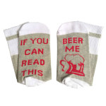 IF YOU CAN READ THIS Beer Beer Letters Printed Christmas Stockings Novelty Socks - HH2018005-BEER ME One Size