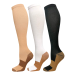 Nylon Football Sports Socks Fast Dry Compression Stockings Knee High Compression Socks for Varicose Veins Travel - Beige EU 35-40