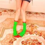 2020 New Christmas Stockings Creative Personality Crew Socks - Green Hook One Size