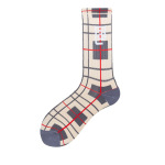 Glad Xvan Spring And Summer Sports Socks Tide Plaid Stockings Thick Warm Towel Socks Socks Japanese Socks - Beige Red Stripe EU 37-43