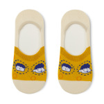 Glad Xvan 5 Pairs Shallow Mouth Invisible Ins Cute Cartoon Silicone Non-slip Pattern Socks - Yellow Head EU 36-43