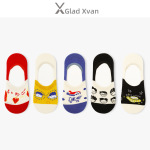 Glad Xvan 5 Pairs Shallow Mouth Invisible Ins Cute Cartoon Silicone Non-slip Pattern Socks - Red Strawberries EU 36-43