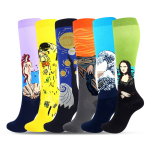 Figures Art Painting Patterned Compression Stockings Hiking Compression Socks Knee High Socks for Flight - 6 Pairs EU 39-46