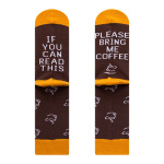If You Can Read This Bring Me Coffee Red Wine Socks Novelty Words Letter Socks Novelty Socks - Dark Brown Coffee 39-46