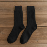 Men's Plunge Socks Autumn Winter Warm Thickening Medium Stockings Men's Plus Velvet Pure Color Plums Socks Warm Socks - Ink Code