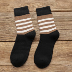 Autumn Winter Striped Men's Plus Thick Middle Stockings Men's Casual Warm Hips Student Straw Stripes In Stockings - Black Code