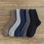 Thick Wool Stockings Autumn Winter Thick Warm Men's Stockings Casual Pure-colored Plungeous Socks - Navy One Size
