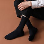 Men's Cotton Socks Autumn Winter Long-barreled Package Business Men Socks Wild Cotton Solid Color Crew Socks - 623 Dark Gray Short Paragraph One Size