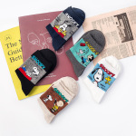 Snoopy Cartoon Couple Cotton Crew Socks Spring And Summer Casual Cotton Socks Tide - Black