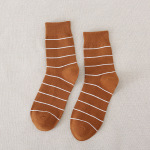 Simple Wild  Men's Striped Socks Cotton Socks Japanese Male Recreational Socks - Black You Can Hang