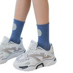 Ins Street Basketball Socks Couple Crew Socks Personalized Letters Hip-hop Men's Sports Socks Tide - Blue There Are Hanging Card