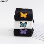Girls Crew Black Socks White Socks Embroidered Butterflies Tide Skateboard Socks Female Socks - Black Yellow Butterfly One Size