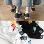 5 Pairs Shallow Mouth Cotton Socks Summer Thin Invisible Socks Sports Boat Plain Color Socks - White Grass Black Label One Size