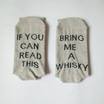 IF YOU CAN READ THIS BRING ME A WHISKY Letters Socks Cotton Socks Novelty Socks - Gray WHISKY One Size