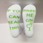 IF YOU CAN READ THIS Leisure Letters Socks Cotton Socks Crew Socks Novelty Socks - Green Fruit GIN One Size