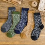 ECAO Men Socks Autumn Winter Retro Thick Line Socks - Army Green One Size