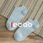 ECAO 3 Pairs Socks Low Cut Thick Line Boat Socks Solid Color Plain Socks - Light Gray One Size