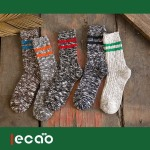 ECAO Retro Style Men's Socks Thick Lines Parallel Bars Shawn Socks - Black One Size