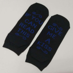 IF YOU CAN READ THIS GIVE ME A KISS Letter Casual Cotton Socks Boat Socks Novelty Socks - White One Size