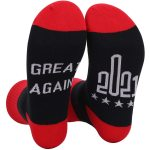3 Pairs 2021 Socks Middle Finger Socks 2021 Great Again Novelty Socks - 2021 Great Again - Gray + Red One Size