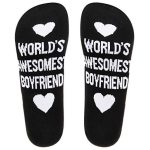World's Awesomest Boyfriend Girlfriend Cotton Socks Crew AB Mismatched Novelty Socks - Boyfriend Gray EU 35-43