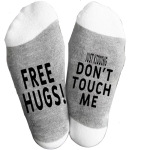 5 Pairs FREE HUGS! JUST KIDDING DON'T TOUCH ME Cotton Men's Socks Novelty Sock - Black Red